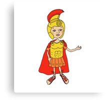 Cute Image Roman gladiator in armor, helmet Canvas Print