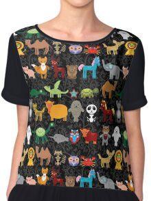 Animals on black background Chiffon Top