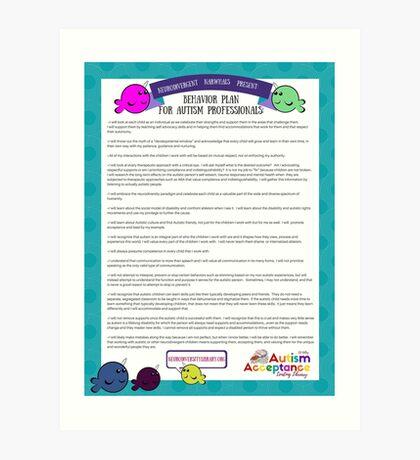 Behavior Plan for Autism Professionals Art Print