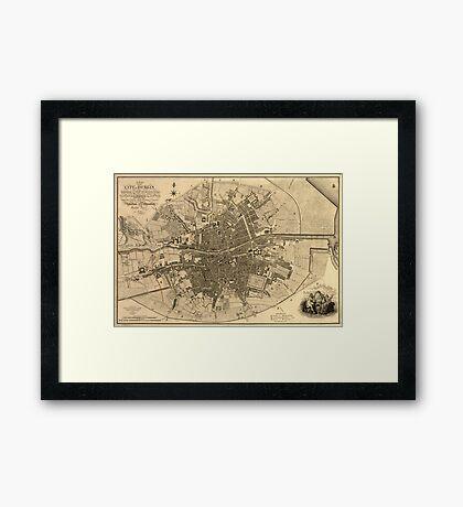 Vintage Map of Dublin Ireland (1797)  Framed Print
