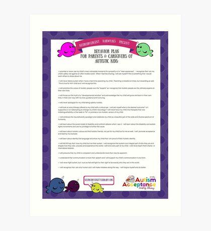Behavior Plan for Parents of Autistic Kids Art Print