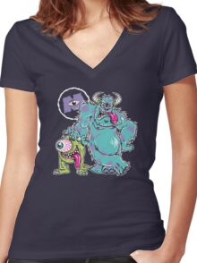 Monsters Fink Women's Fitted V-Neck T-Shirt
