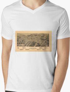 Vintage Pictorial Map of Durham NC (1891) Mens V-Neck T-Shirt
