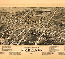 Vintage Pictorial Map of Durham NC (1891) by BravuraMedia