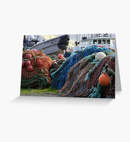 Dutch Harbor Fishing Nets and Boats Greeting Card