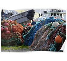 Dutch Harbor Fishing Nets and Boats Poster