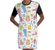 Fashion trendy pattern clothes and accessories Graphic T-Shirt Dress