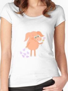 Happy pig with a flower in a hand Women's Fitted Scoop T-Shirt