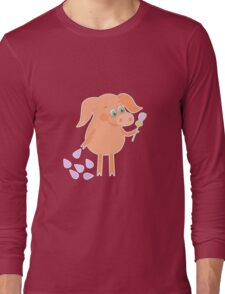 Happy pig with a flower in a hand Long Sleeve T-Shirt