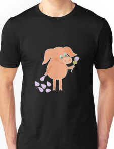 Happy pig with a flower in a hand Unisex T-Shirt