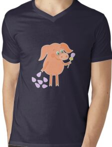 Happy pig with a flower in a hand Mens V-Neck T-Shirt
