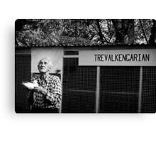 Poppy with the Pigeons -B&W  Entry into 2NC 1233 ABC Radio Portrait Competition Canvas Print