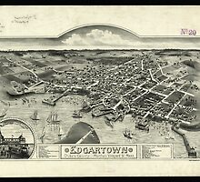 Vintage Pictorial Map of Edgartown MA (1886) by BravuraMedia