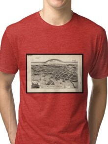 Vintage Pictorial Map of Edgartown MA (1886) Tri-blend T-Shirt