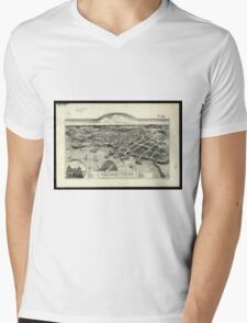 Vintage Pictorial Map of Edgartown MA (1886) Mens V-Neck T-Shirt