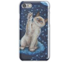 Whimsical Cat Art - Playing with the Moon iPhone Case/Skin