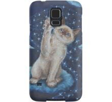 Whimsical Cat Art - Playing with the Moon Samsung Galaxy Case/Skin