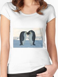 Emperor Penguin Courtship Women's Fitted Scoop T-Shirt