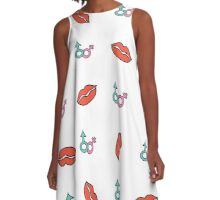 pattern background with red lips A-Line Dress