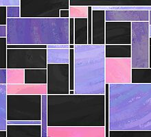 Mondrian Purple Pink Black  by Traci VanWagoner