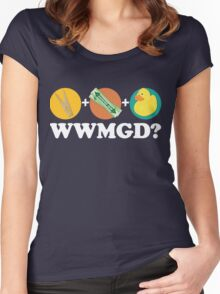 Peg + Gum + Duck = What Would MacGyver Do? Women's Fitted Scoop T-Shirt