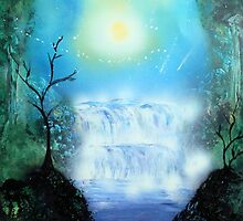 Spray Paint Art- Double waterfall by Annika Thurgood