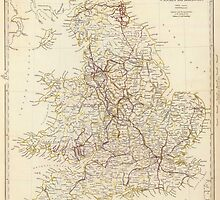 Vintage Map of England (1837)  by BravuraMedia