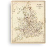Vintage Map of England (1837)  Canvas Print