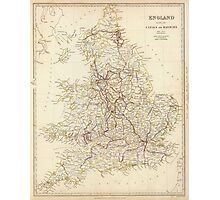 Vintage Map of England (1837)  Photographic Print