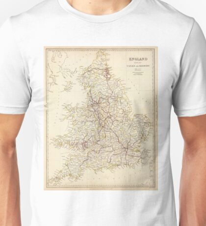 Vintage Map of England (1837)  Unisex T-Shirt