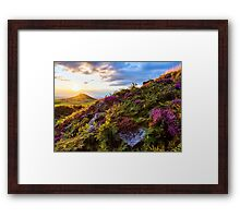 Roseberry Topping Sunset Heather North York Moors UK Framed Print