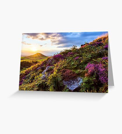 Roseberry Topping Sunset Heather North York Moors UK Greeting Card