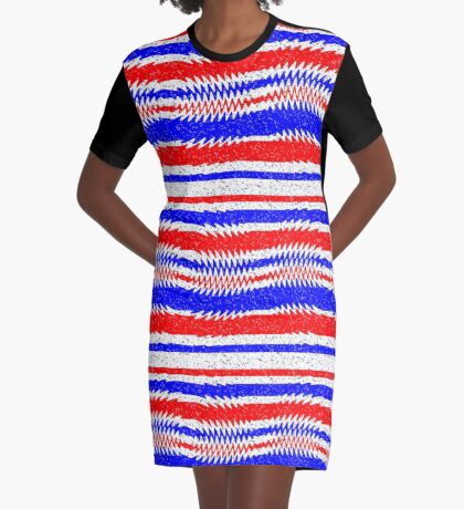 Red White Blue Waving Lines Graphic T-Shirt Dress