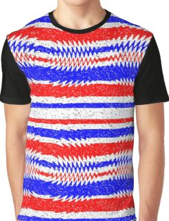 Red White Blue Waving Lines Graphic T-Shirt