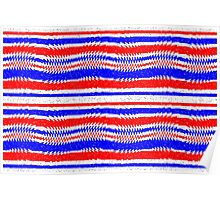 Red White Blue Waving Lines Poster