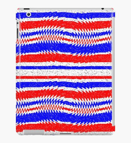 Red White Blue Waving Lines iPad Case/Skin