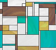 Mondrian Brown Yellow Teal  by Traci VanWagoner