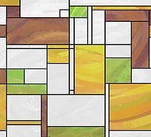 Mondrian Brown Yellow Green  by Traci VanWagoner