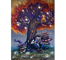 Young witch reading magic book Photographic Print