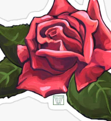 Painted Red Rose Sticker
