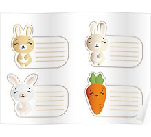 Kids name tags with cute bunnies Poster