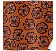 Poppies on Rusted Yellow - poppy flower pattern Poster