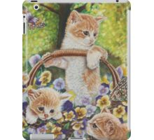 Cat Art - Cute Kittens in a Flowers Basket at Spring Time  iPad Case/Skin