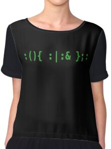 Bash Fork Bomb - Green Text for Unix/Linux Hackers Chiffon Top