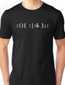 Bash Fork Bomb - White Text for Unix/Linux Hackers Unisex T-Shirt