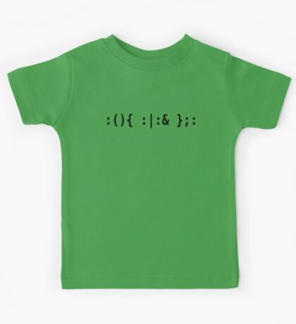 Bash Fork Bomb - Black Text for Unix/Linux Hackers Kids Tee