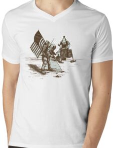 Apollo Moon Landing Vintage Space Cartoon Mens V-Neck T-Shirt