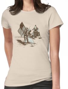 Apollo Moon Landing Vintage Space Cartoon Womens Fitted T-Shirt