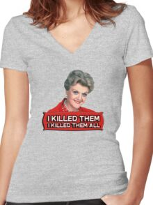Angela Lansbury (Jessica Fletcher) Murder she wrote confession. I killed them all. Women's Fitted V-Neck T-Shirt