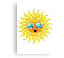 Summer Sun Cartoon with Sunglasses Canvas Print